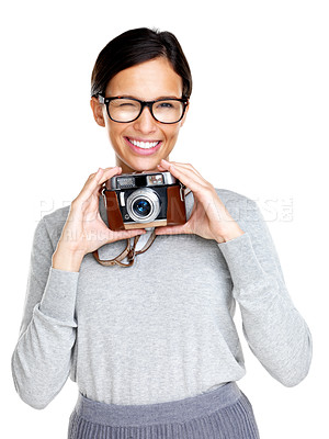 Buy stock photo Portrait of an attractive young woman wearing glasses and winking at you