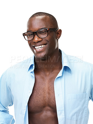 Buy stock photo Portrait of a sexy young African American man smiling against white background
