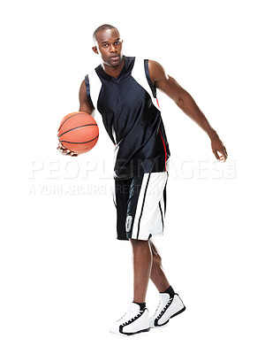Buy stock photo Portrait of a young male player playing basketball - isolated on white