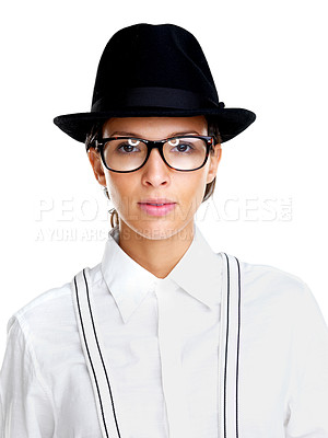 Buy stock photo Portrait of a cute young female in glasses and hat on white background