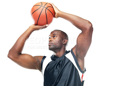 Buy stock photo Portrait of a young basketball player taking free throw against white background
