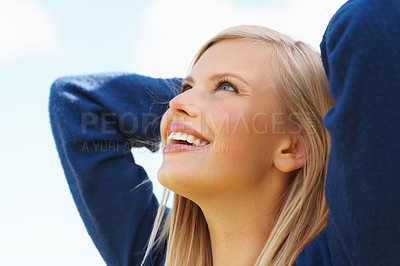 Buy stock photo Closeup of attractive woman looking up