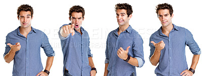Buy stock photo Collage of a crazy young guy showing different hand sign over white background