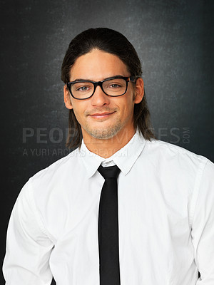 Buy stock photo Portrait of handsome man wearing glasses and tie