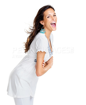 Buy stock photo Portrait of an excited young woman screaming against white background