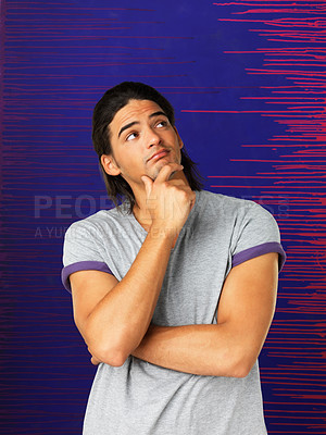 Buy stock photo Man with arms crossed looking into distance against blue and purple background