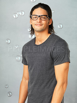 Buy stock photo Portrait of happy man in glasses and smiling