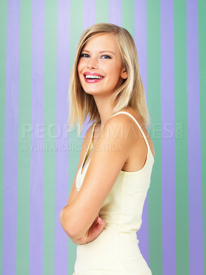 Buy stock photo Portrait of pretty woman posing with hands folded
