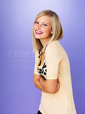 Buy stock photo Portrait of pretty blond smiling with arms crossed