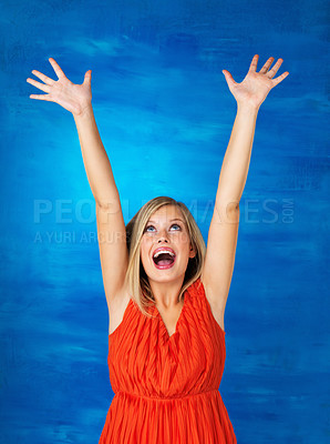 Buy stock photo Pretty woman extending arms in surprise