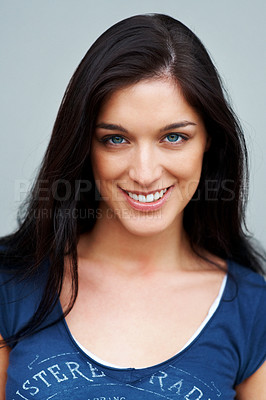 Buy stock photo Closeup portrait of an attractive young girl looking at you with a smile