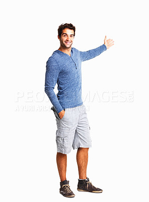 Buy stock photo Man in casual clothing giving you a presentation on white background