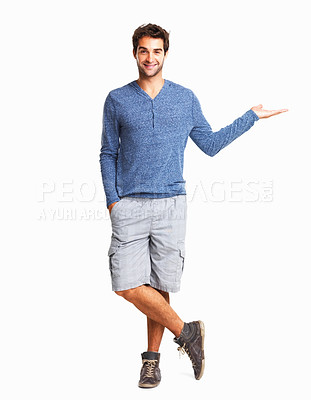 Buy stock photo Happy man with an invisible product on white background