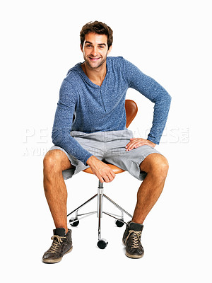 Buy stock photo Full length of a handsome man sitting on chair against white background