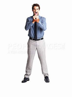 Buy stock photo Furious male executive with his hands tied with rope on white background
