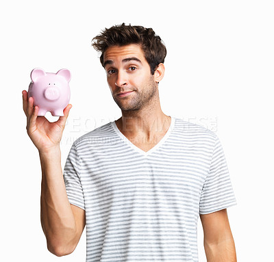 Buy stock photo Man holding up piggy bank