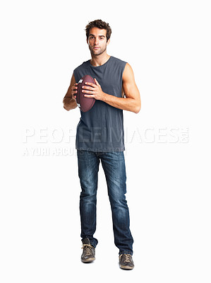 Buy stock photo Competitive man holding a rugby ball