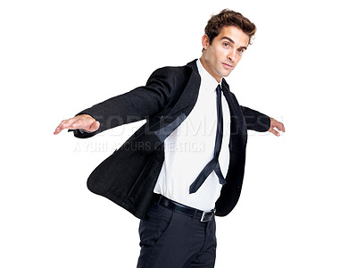 Buy stock photo Portrait of a confident young male entrepreneur with arms outstretched against white background