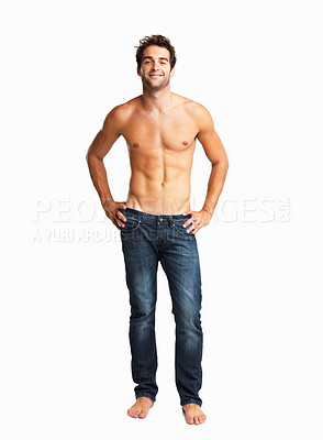 Buy stock photo Man smiling with his hands on hips