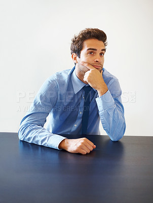 Buy stock photo Thoughtful business man at board room