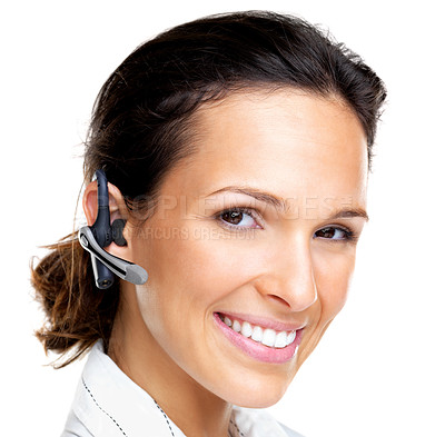 Buy stock photo Portrait of a Happy young female with a bluetooth handsfree against white background