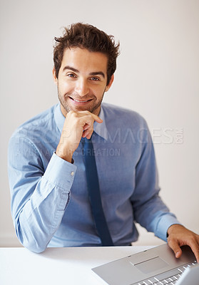 Buy stock photo Portrait of smiling business man with laptop