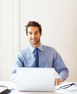 Buy stock photo Portrait of confident business man sitting with laptop