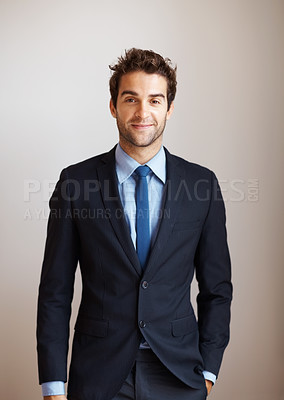 Buy stock photo View of businessman standing with hand in pocket