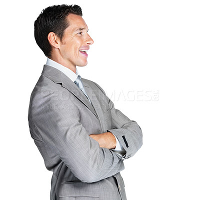 Buy stock photo Profile image of a happy young male business executive looking at something interesting against white background