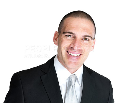 Buy stock photo Closeup portrait of a happy young business man smiling against white background