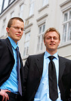Two business trainees in a European City (Aarhus)