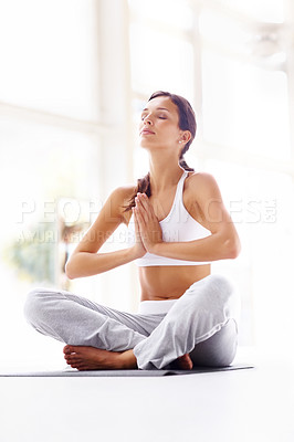Buy stock photo Portrait of beautiful young woman doing yoga exercise - Meditating