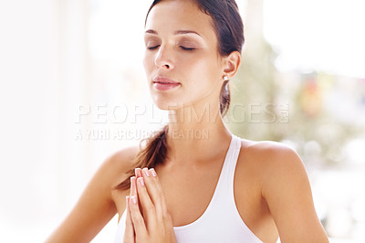 Buy stock photo Portrait of young woman doing simple and quick stress reduction meditation