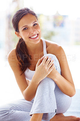 Buy stock photo Portrait of a pretty young womanrelaxing after a workout