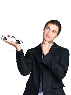 Buy stock photo Portrait of a young business man thinking over possibilities of loan for purchasing a new car