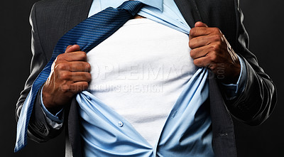 Buy stock photo Cropped view of business man ripping off his shirt on black background