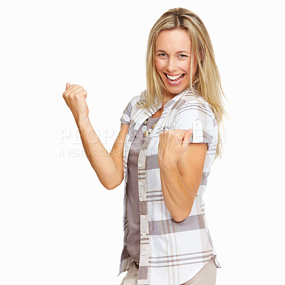 Buy stock photo Portrait of attractive business woman with clenched fists isolated on white background