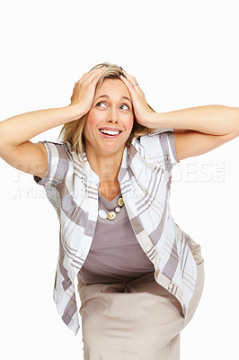Buy stock photo Portrait of smiling mature business woman holding her head and looking away