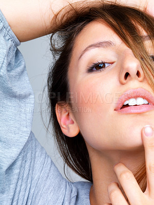 Buy stock photo Cropped closeup image of a cute young woman posing