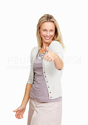 Buy stock photo Portrait of cheerful mature woman with thumbs up on white background