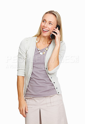 Buy stock photo Portrait of executive woman speaking on cellphone over white background