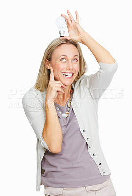 Buy stock photo Portrait of smart business woman thinking with bulb over her head over white background