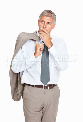 Buy stock photo Studio shot of a thoughtful mature businessman against a white background