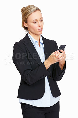 Buy stock photo Beautiful busy business woman reading text message on white background