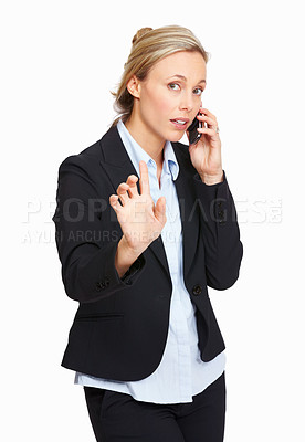 Buy stock photo Portrait of business woman busy talking on phone call over white background