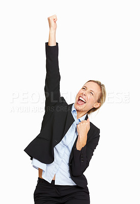 Buy stock photo Portrait of successful beautiful business woman on white background