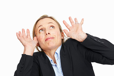 Buy stock photo Portrait of business woman trying to save herself from something over white background