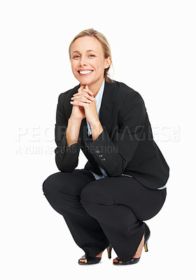 Buy stock photo Full length of attractive business woman crouching over white background