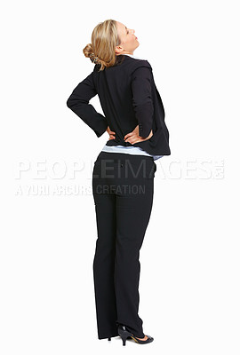 Buy stock photo Full length of business woman with back pain over white background