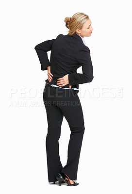 Buy stock photo Full length of business woman with back pain on white background